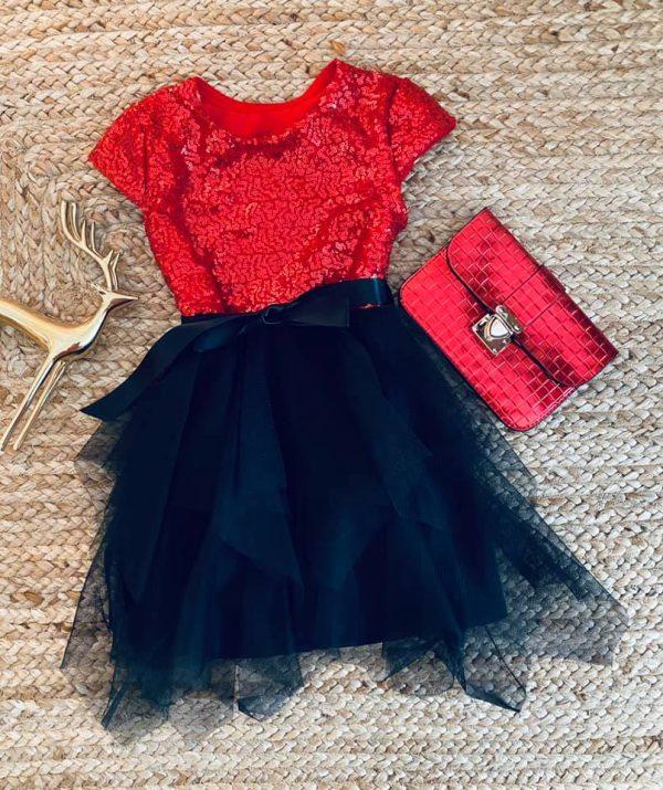 Robe de noël à paillette rouge pour enfant de 3 à 14 ans