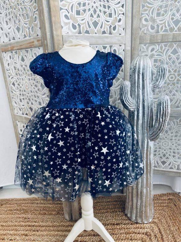 robe bleue étoilée 2 à 6 ans