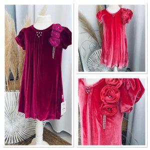 robe mistinguette flowers en velours 7 à 10 ans