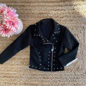 veste suédine cloutée noire 4 à 14 ans