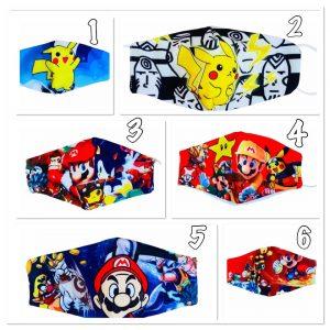 masque lavable garçon Mario pikachu dragon ball