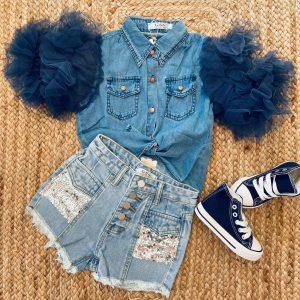 short bleu délavé