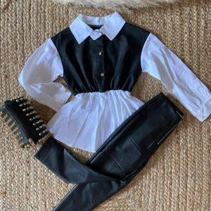 pantalon et chemise simili cuir