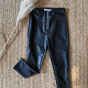 pantalon noir zippé