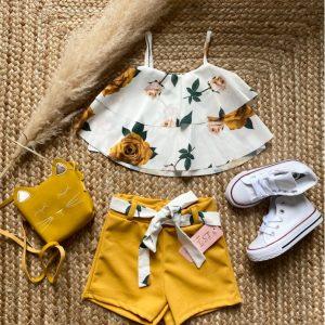 ensemble short flower moutarde